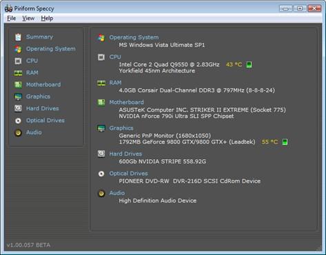 Speccy : System Information tool tingkat tinggi untuk PC / laptop kita.