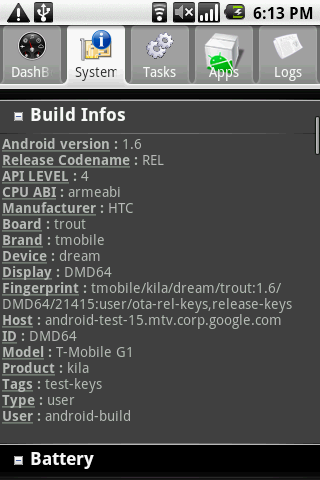 Android System Info : System